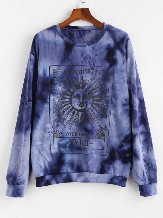 sale Celestial Sun and Moon Slogan Tie Dye Sweatshirt - BLUE L