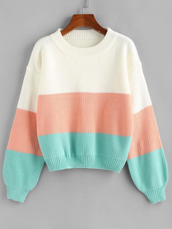 ZAFUL Colorblock Lantern Sleeve Jumper Sweater - متعدد M