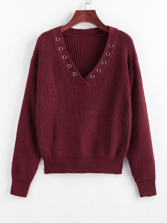 ZAFUL Jersey de Cuello en V y Hombro Caído - Color rojo oscuro L