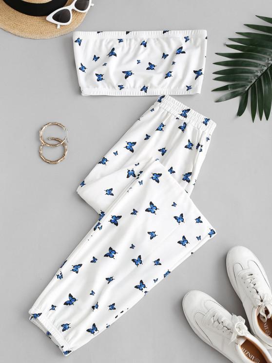 ZAFUL Conjunto de Duas Peças de Sweatpants com Bolso - Leite Branco XL
