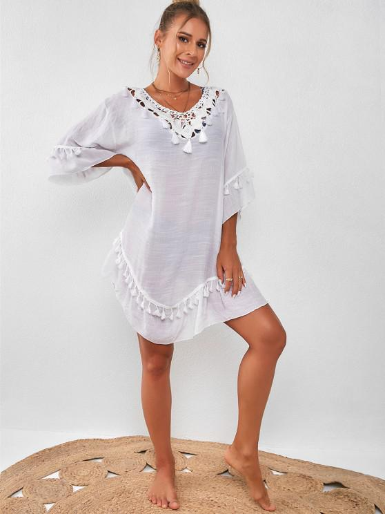 Tassel Crochet Panel Beach Dress - أبيض حجم واحد