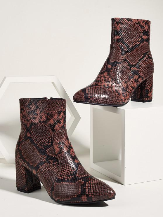 ladies Snake Print Pointed Toe Chunky Heel Ankle Boots - MULTI-A EU 39