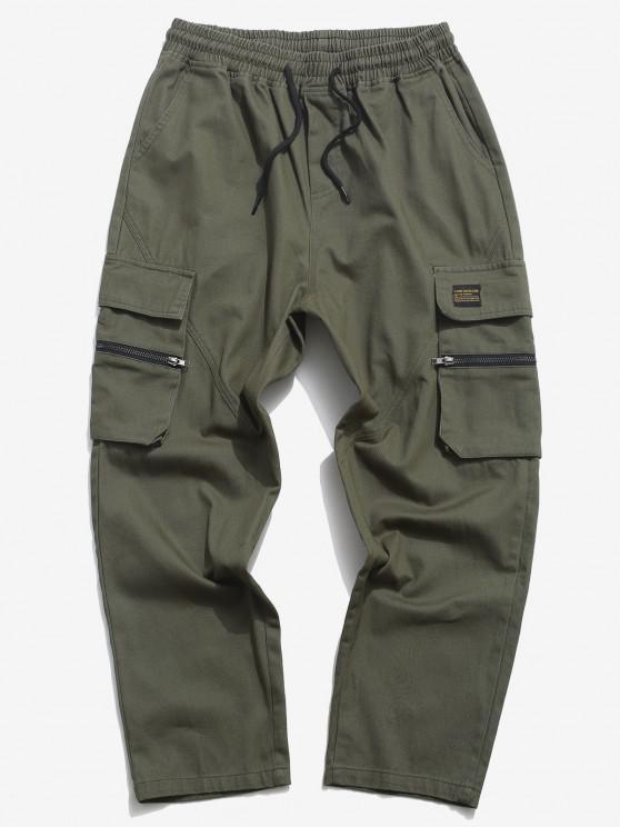 Zipper Flap Pocket Straight Cargo Pants - الجيش الأخضر XL