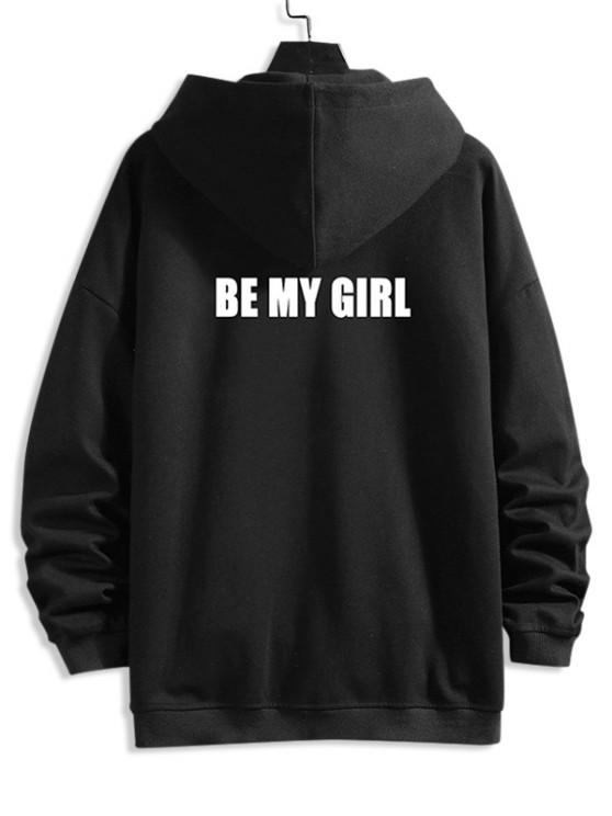 unique Be My Girl Hooded Jacket - BLACK 4XL
