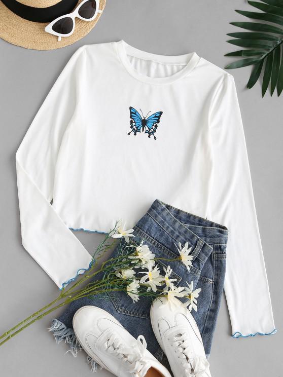 trendy ZAFUL Lettuce Butterfly Graphic Slim Short Tee - WHITE S