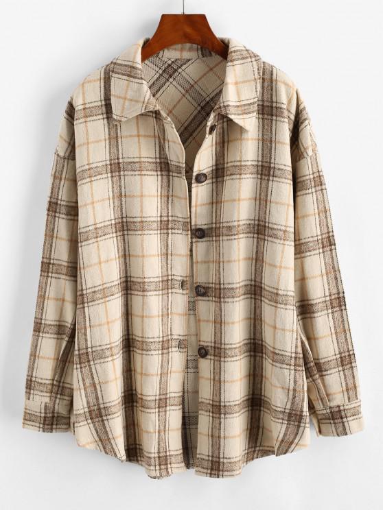 fancy Checked Wool Blend Coat - LIGHT COFFEE S