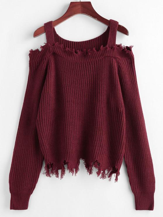 ZAFUL Frayed Cold Shoulder Jumper Sweater - أحمر غامق S