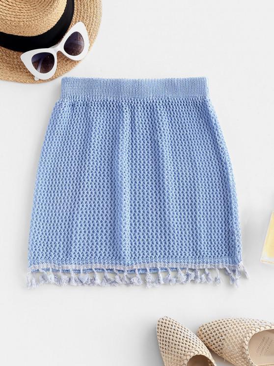 shop Tassels Crochet Beach Skirt - SKY BLUE ONE SIZE