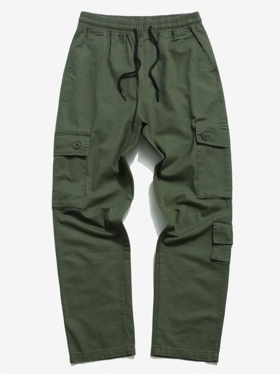 Drawstring Letter Applique Multi Pockets Casual Pants - الجيش الأخضر S