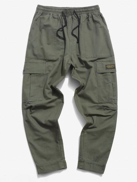 Letter Applique Hoop and Loop Detail Cargo Pants - الجيش الأخضر S