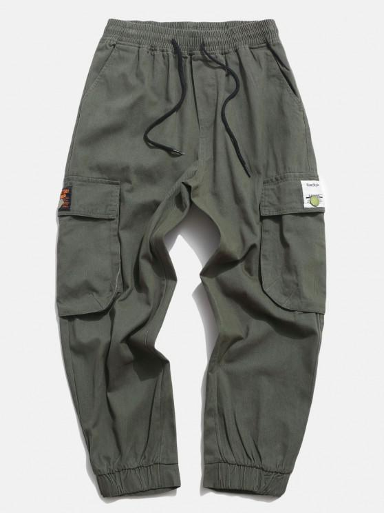 Calças de Bolso Applique Sólido da Aba - Exército verde M