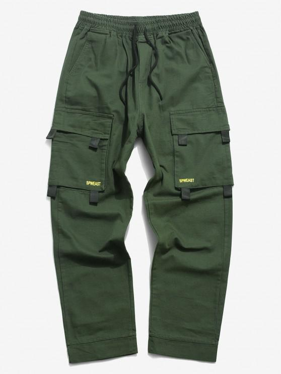 Letter Print Hook and Loop Detail Cargo Pants - الجيش الأخضر L