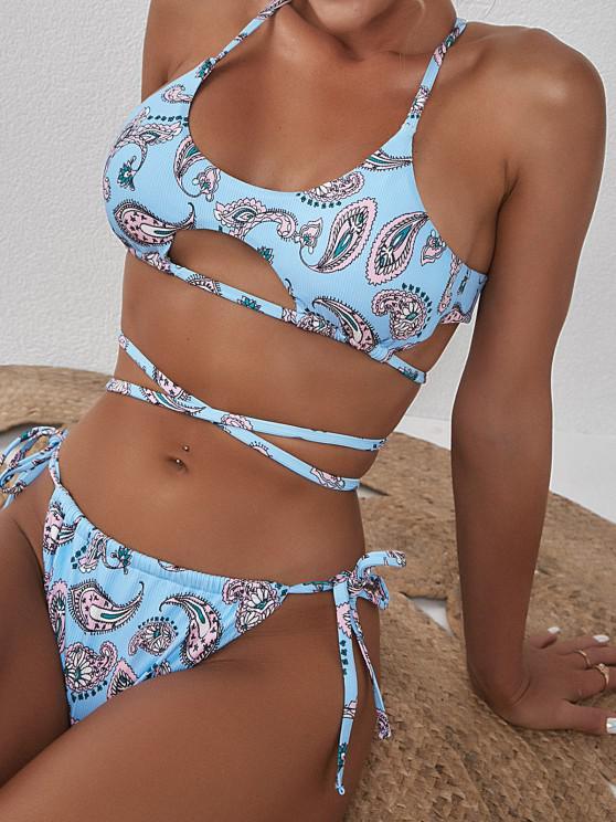 fancy ZAFUL Ribbed Flower Underboob Wrap String Bikini Swimwear - LIGHT BLUE M