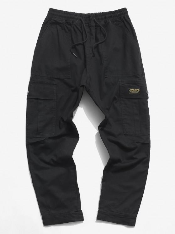 Pantalones de Carga con Aplicación de Letras y Pantalones de Detalle de Cordón - Negro XS