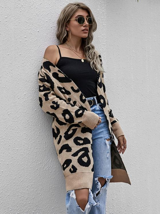online Leopard Drop Shoulder Open Front Cardigan - LIGHT COFFEE ONE SIZE