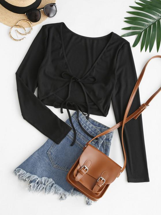 new ZAFUL Ribbed Plunge Tie Crop Tee - BLACK M