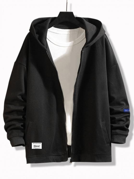 best Change Slogan Print Zip Up Jacket - BLACK XL