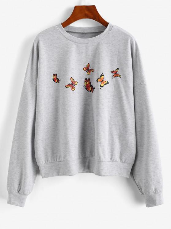 ZAFUL Drop Shoulder Marled Butterfly Sweatshirt - رمادي فاتح S