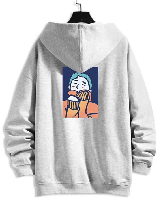 unique Cartoon Man Print Drop Shoulder Hooded Jacket - PLATINUM 3XL