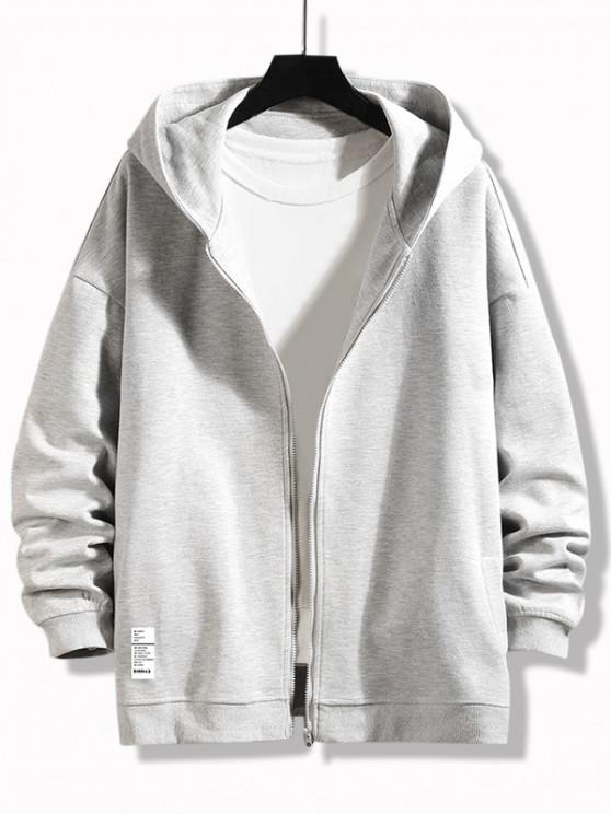 buy Letter Graphic Print Zip Up Hoodie Jacket - PLATINUM M