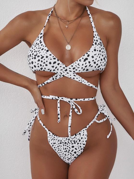 hot ZAFUL Halter Animal Print Convertible Tie Wrap Bikini Swimwear - WHITE L