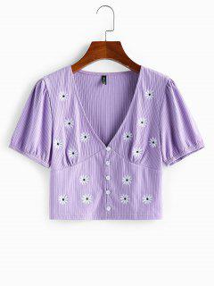 ZAFUL Ribbed Daisy Embroidered Plunging Top - Purple S