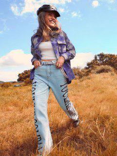 Letter Graphic Frayed Hem Straight Jeans - Light Blue S