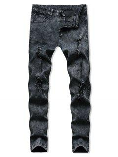 Distressed Destroy Wash Tapered Jeans - Black M