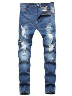 Distressed Ripped Zip Denim Pants - Blue S