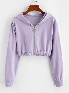ZAFUL Pull Ring Zip Hooded Crop Jacket - Light Purple L