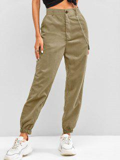 High Waisted Flap Detail Chain Pants - Light Coffee M