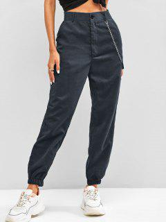 High Waisted Flap Detail Chain Pants - Deep Blue L