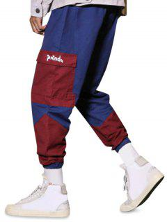 Panda Color Blocking Panel Cargo Pants - Blue Xs