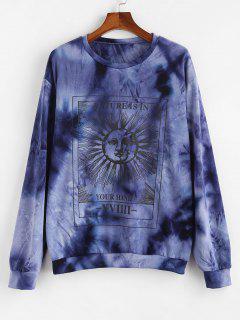 Sweat-shirt Tie-Dye Lune Soleil Et Slogan - Bleu 2xl