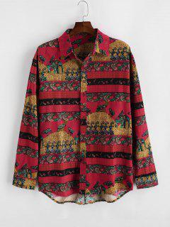 Bohemian Paisley Floral Print Long Sleeve Shirt - Lava Red 2xl