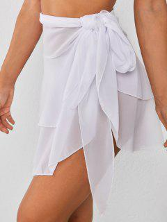 Tiered Flounce Chiffon Tie Cover Up Sarong - White