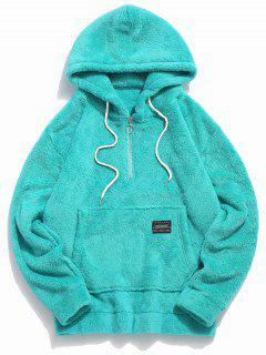 Applique Solid Color Faux Fur Half Zipper Drawstring Hoodie - Deep Green 2xl