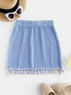 Tassels Crochet Beach Skirt - Sky Blue