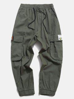 Flap Pocket Applique Solid Cargo Pants - Army Green S