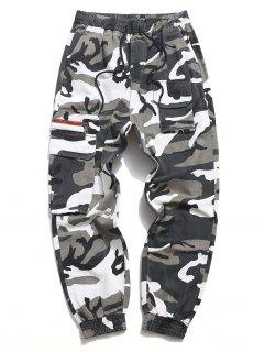 Letter Print Drawstring Multi Pockets Casual Pants - Acu Camouflage S