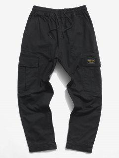 Letter Applique Hoop And Loop Detail Cargo Pants - Black Xs