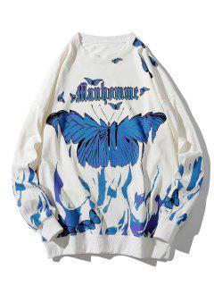 Letter Butterfly Paint Drop Shoulder Sweatshirt - White 4xl