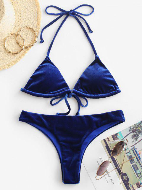 Costume Da Bagno A Taglio Alto In Velluto Con Scollo Profondo - Blu M Mobile