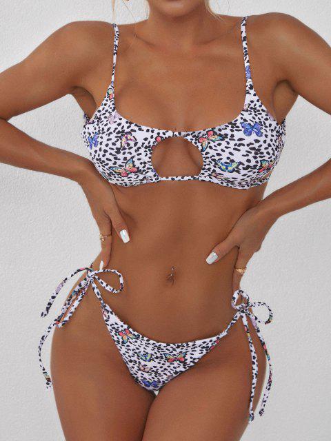 ladies ZAFUL Leopard Butterfly Print Cutout Tanga Bikini Swimwear - WHITE S Mobile