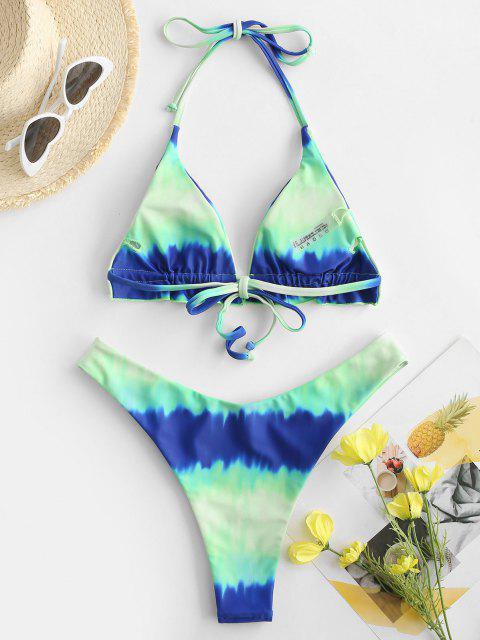unique ZAFUL Dip Dye Ombre High Cut Frilled Bikini Swimwear - MULTI-A M Mobile
