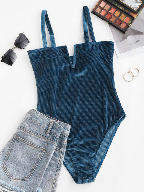outfits ZAFUL Shimmer Velvet V-wired Ribbed One-piece Swimsuit - DEEP BLUE XL Mobile