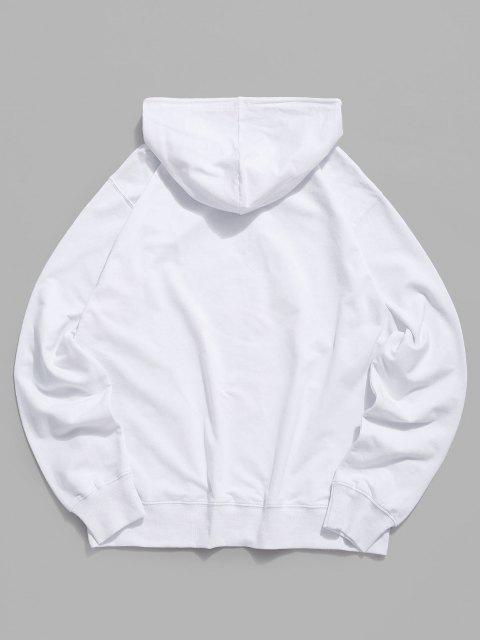 fashion Daisy Paw Graphic Casual Pouch Pocket Hoodie - WHITE L Mobile