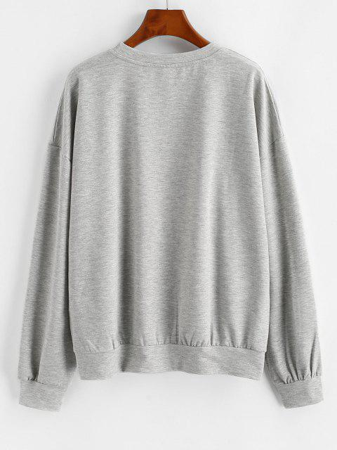 Letter Graphic Drop Shoulder French Terry Sweatshirt - اللون الرمادي XL Mobile