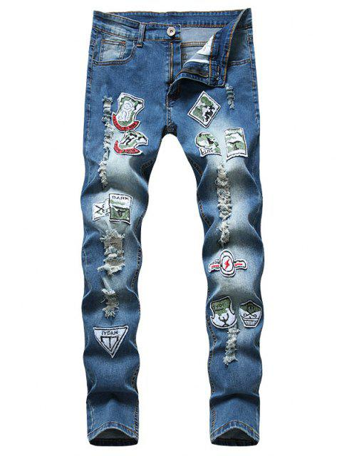 lady Distressed Ripped Patchwork Long Jeans - BLUE 38 Mobile