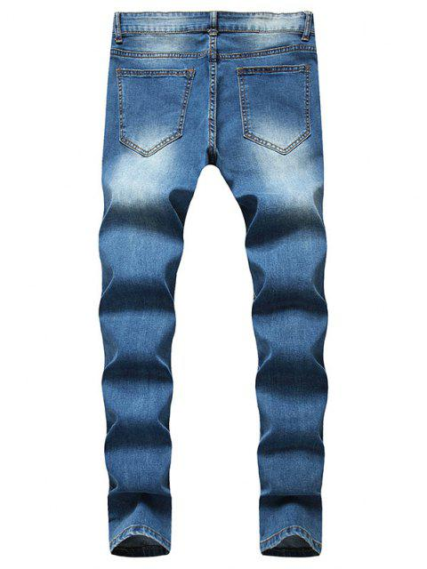 shop Distressed Ripped Patchwork Long Jeans - BLUE 32 Mobile